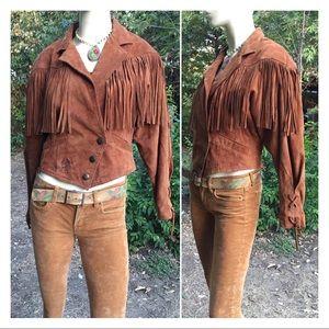 Vintage 80s suede leather fringe jacket Wilsons